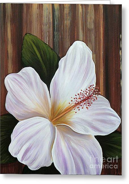 Gayle Utter Greeting Cards - White Hibiscus Greeting Card by Gayle Utter