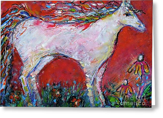 Modigliani Pastels Greeting Cards - White Horse Greeting Card by Darlene BEVILL