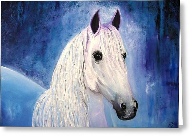 White Horse Greeting Card by Doris Cohen