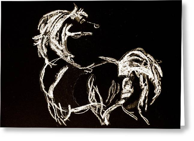 White Tail Pastels Greeting Cards - White Horse Greeting Card by Holly Wright