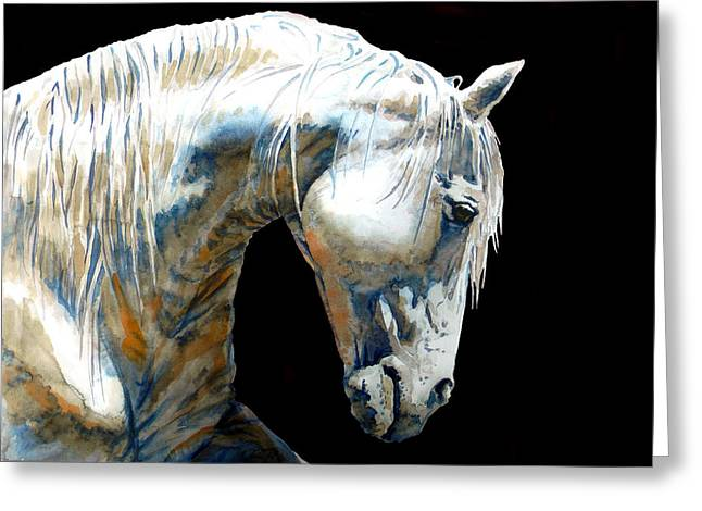 Horse Art Pastels Greeting Cards - White Horse In Black Greeting Card by Jose Espinoza