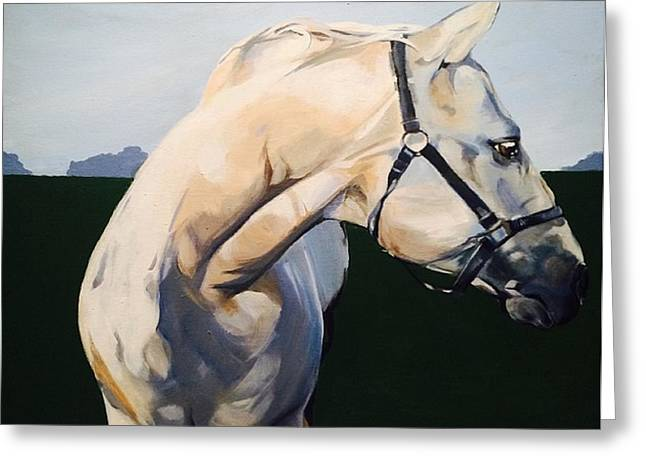 Head Stand Paintings Greeting Cards - White Horse Greeting Card by Joanne Jarry