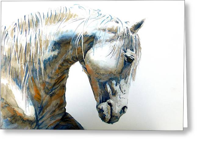 Horse Art Pastels Greeting Cards - White Horse Greeting Card by Jose Espinoza
