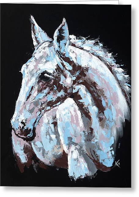 Farm Animal Abstracts Greeting Cards - White Horse Greeting Card by Konni Jensen