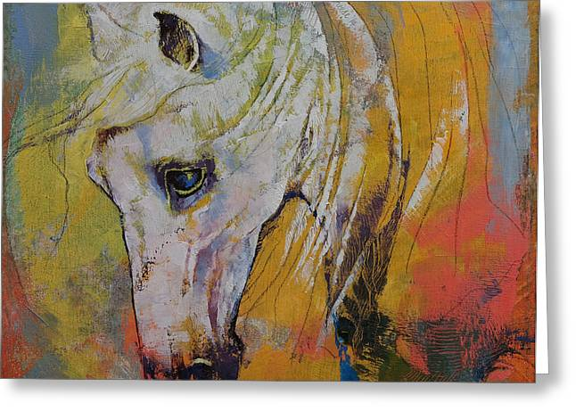 Cheval Greeting Cards - White Horse Greeting Card by Michael Creese