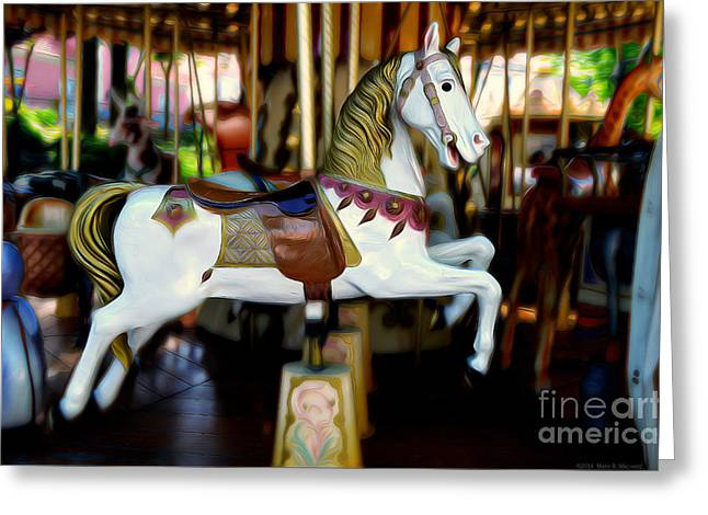 Festival Park Greeting Cards - White Horse on the Carousel  Greeting Card by Mary Machare