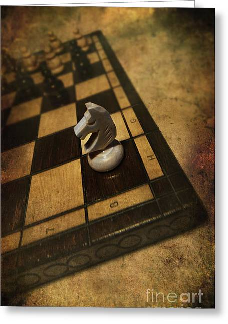 Figure Based Greeting Cards - White horse on the chess board Greeting Card by Jaroslaw Blaminsky