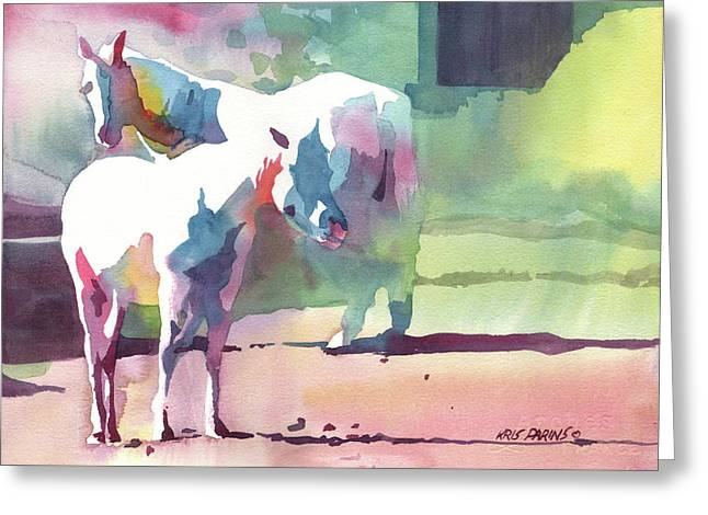 Montana Artist Greeting Cards - White Horses Greeting Card by Kris Parins