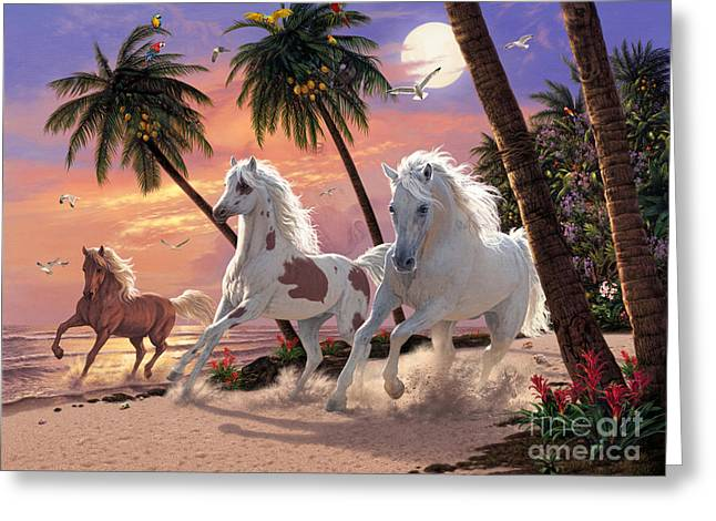 Tropical Beach Greeting Cards - White Horses Greeting Card by Steve Read