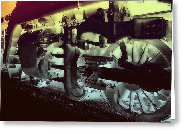 Locomotive Wheels Greeting Cards - White Hot Locomotive Greeting Card by Daniel Hagerman