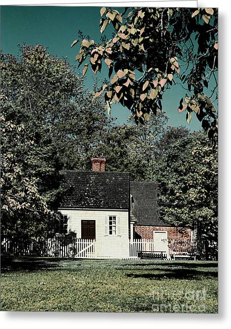 Entrance Door Greeting Cards - White House and Fence Greeting Card by Margie Hurwich