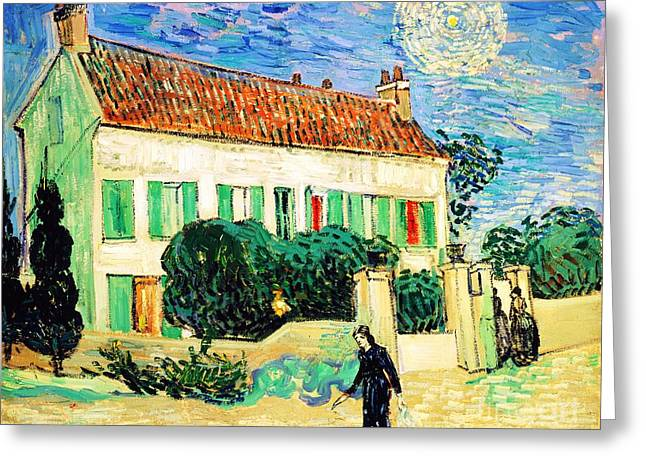 Van Gogh Style Greeting Cards - White House at Night Greeting Card by Pg Reproductions