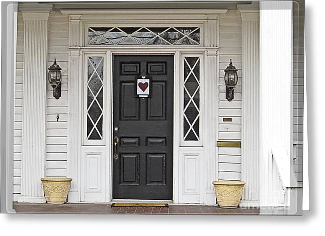 White Frame House Digital Greeting Cards - White House Black Door Red Heart Greeting Card by Ella Kaye Dickey
