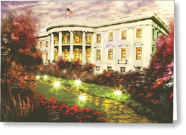 Kinkade Greeting Cards - White House Greeting Card by Jessie J De La Portillo