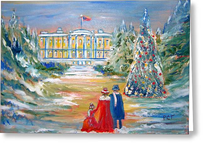 Patricia Taylor Greeting Cards - White House on a Hill Greeting Card by Patricia Taylor