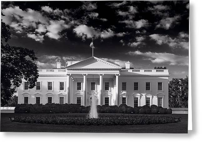 Oval Office Greeting Cards - White House Sunrise B W Greeting Card by Steve Gadomski