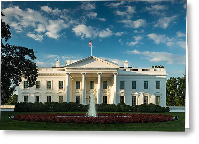 America Photographs Greeting Cards - White House Sunrise Greeting Card by Steve Gadomski