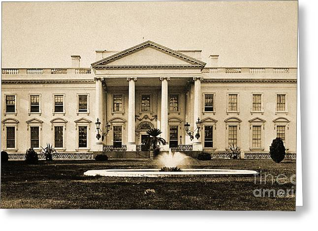 U.s.a. President Greeting Cards - White House, Washington, D.c., 1880 Greeting Card by Wellcome Images