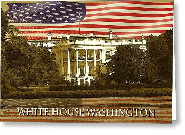 Us Capital Mixed Media Greeting Cards - White House Washington - Patriotic Poster Greeting Card by Peter Fine Art Gallery  - Paintings Photos Digital Art