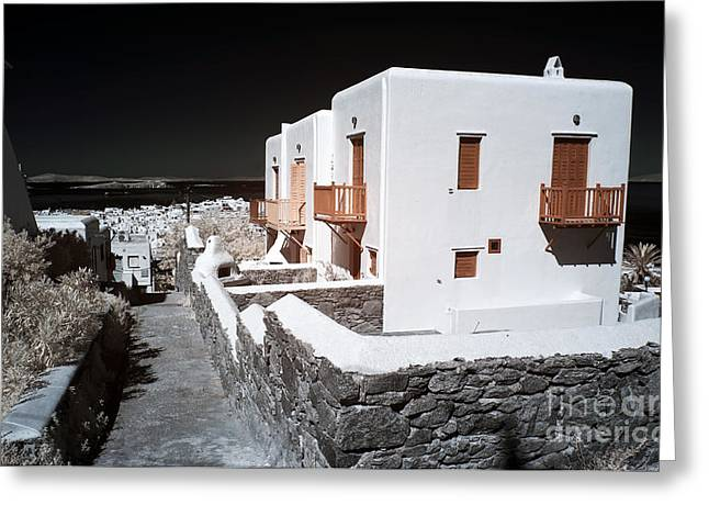 White House Prints Greeting Cards - White Houses in Mykonos infrared Greeting Card by John Rizzuto