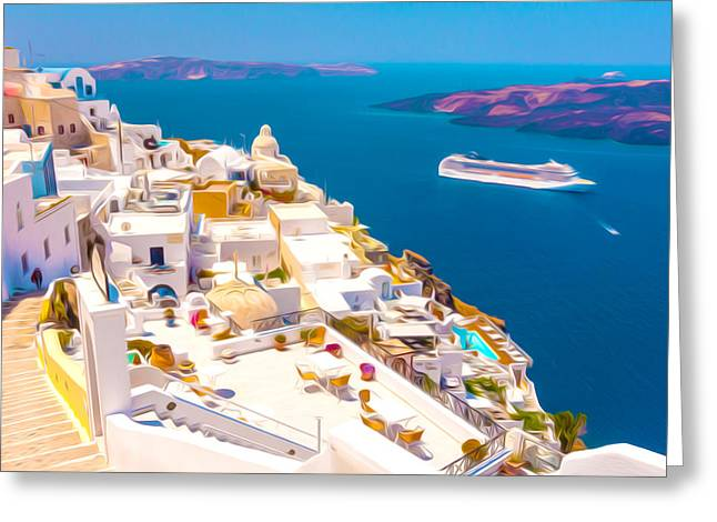 Orthodox Paintings Greeting Cards - White houses of Santorini Greeting Card by Lanjee Chee