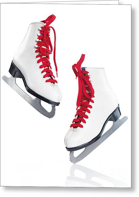 Ice Skates Greeting Cards - White ice skates with red laces Greeting Card by Oleksiy Maksymenko