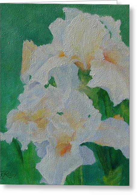 White Irises Original Oil Painting Iris Cluster Beautiful Floral Art Greeting Card by K Joann Russell