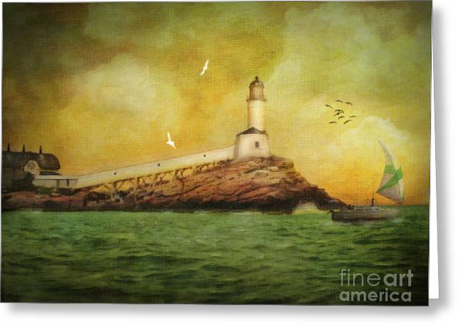 Maine Lighthouses Digital Greeting Cards - White Island Light - Isles of Shoals Greeting Card by Lianne Schneider