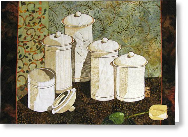 Lynda Boardman Art Tapestries - Textiles Greeting Cards - White Jars Greeting Card by Lynda K Boardman