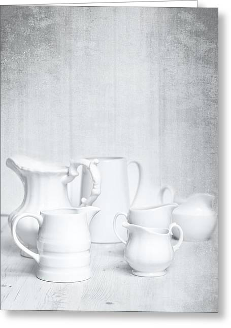 White Greeting Cards - White Jugs Greeting Card by Amanda And Christopher Elwell