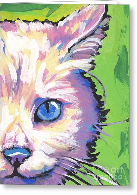 White Paintings Greeting Cards - White Kitty Cat Greeting Card by Lea