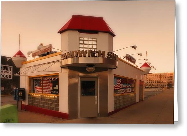 Sarandon Greeting Cards - White Knight Sandwich Shop Greeting Card by Greg Kluempers
