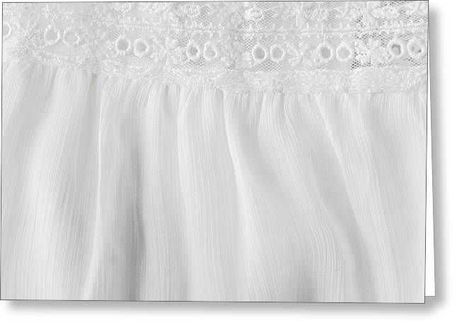 Love Laces Greeting Cards - White lace and satin Greeting Card by Tom Gowanlock