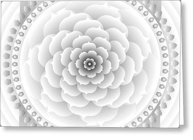 Metaphysics Greeting Cards - White Light Healing Mandala Greeting Card by Sarah  Niebank