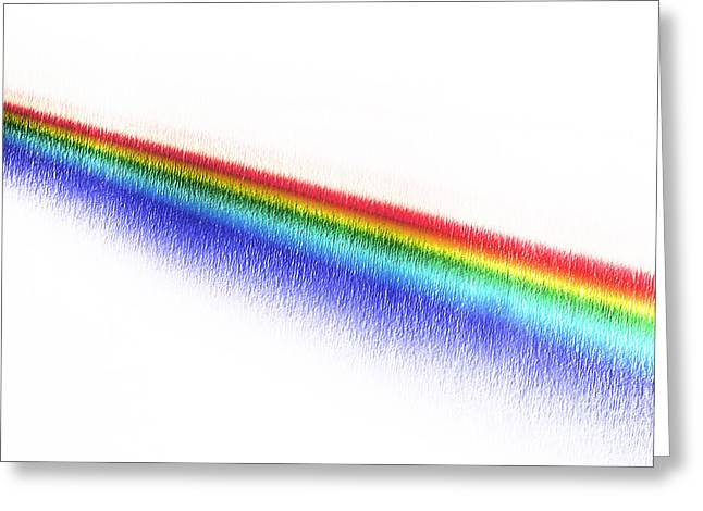 Geometric Effect Greeting Cards - White Light Spectrum Through Prism Greeting Card by GIPhotoStock