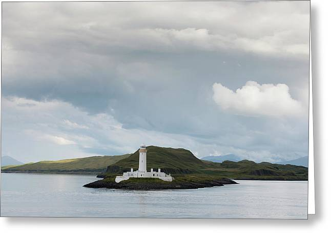 White Lighthouse Along The Coast Greeting Card by John Short