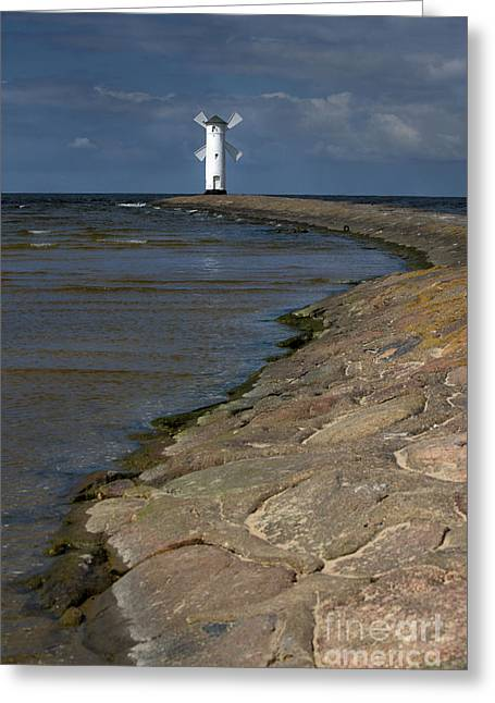White Lightouse On The Coast Greeting Card by Jaroslaw Blaminsky