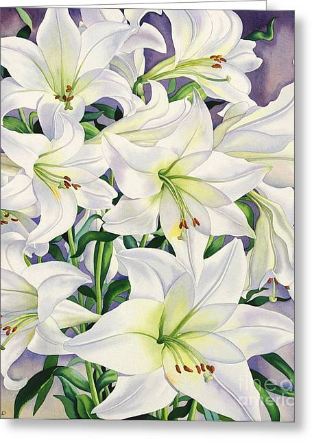 Botany Greeting Cards - White Lilies Greeting Card by Christopher Ryland