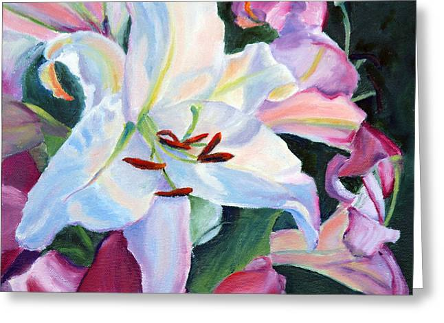 Catherine White Paintings Greeting Cards - White Lily Greeting Card by Catherine Korzun Moore