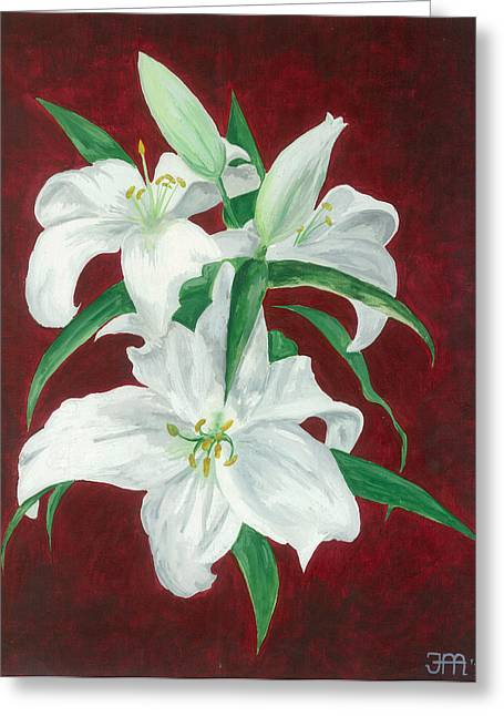 White Lily Dark Red Background  Greeting Card by Jekaterina Mudivarthi