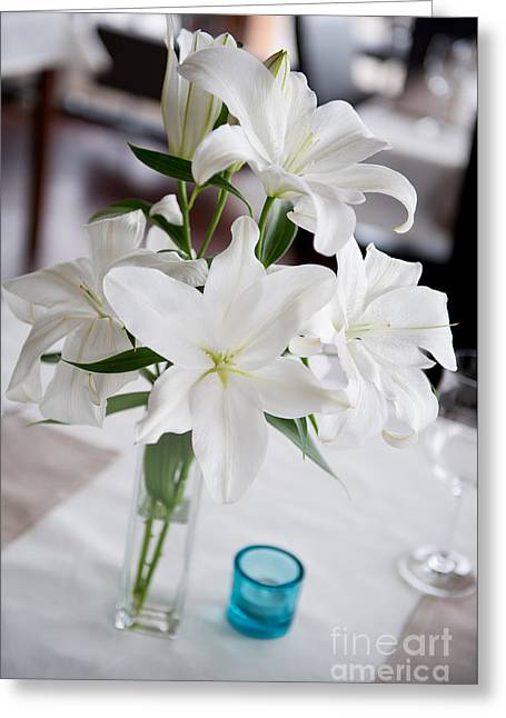 Candidum Greeting Cards - White Lilium Lily flowers blooming in vase  Greeting Card by Arletta Cwalina