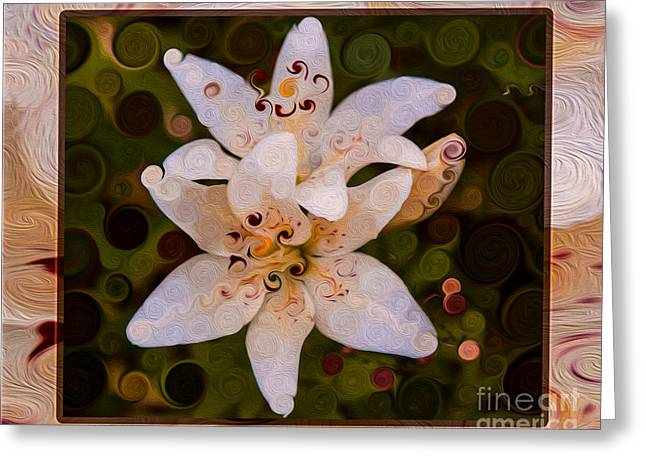 Owfotografik Greeting Cards - White Lily Opening to the Sun Abstract Flower Art Greeting Card by Omaste Witkowski