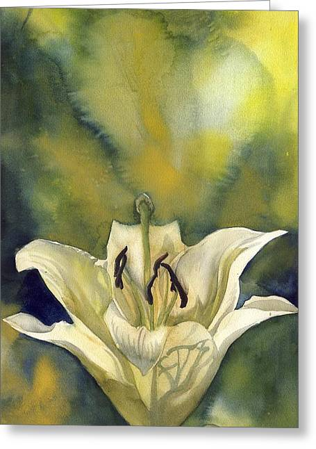 White Lily With Blue Greeting Card by Alfred Ng