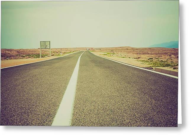 White Line On A Main Road Greeting Card by Wladimir Bulgar