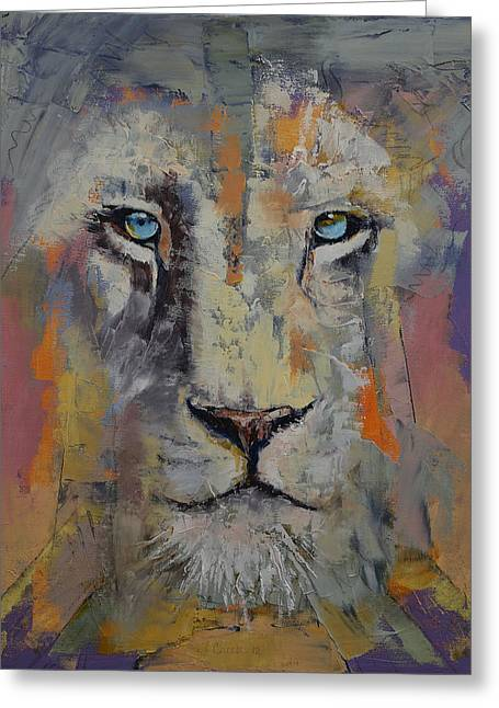 Hypnotizing Greeting Cards - White Lion Greeting Card by Michael Creese