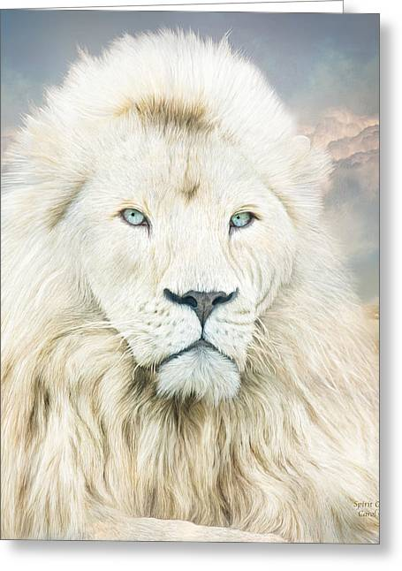 Recently Sold -  - Lions Greeting Cards - White Lion - Spirit Of Goodness Greeting Card by Carol Cavalaris