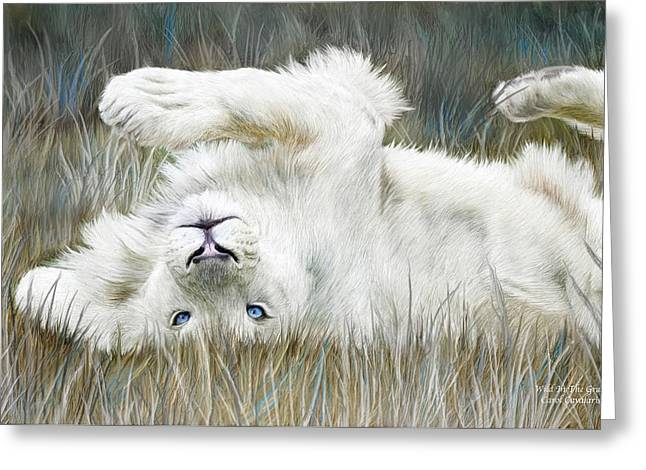 African Lion Art Greeting Cards - White Lion - Wild In The Grass Greeting Card by Carol Cavalaris