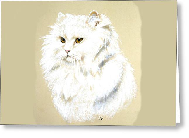 Jeanie Greeting Cards - White Long Hair Cat Greeting Card by Jeanie Beline