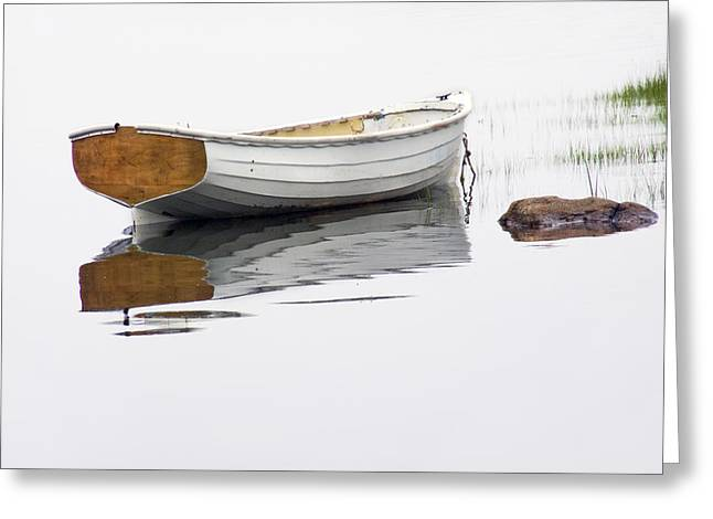 Randy Greeting Cards - White Maine Boat on a Foggy Morning Greeting Card by Randall Nyhof