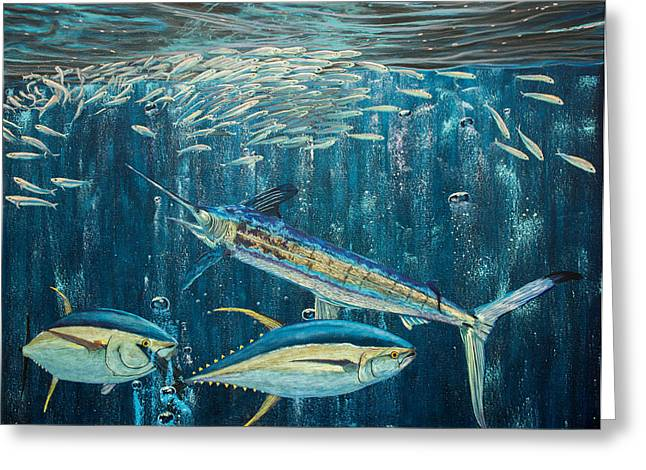 Striped Marlin Greeting Cards - White Marlin original oil painting 24x36in on canvas Greeting Card by Manuel Lopez